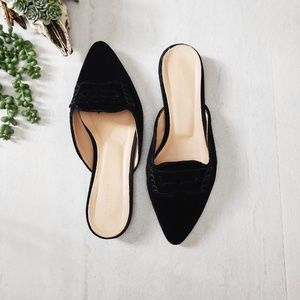 J.Crew black velvet loafer mule flat points
